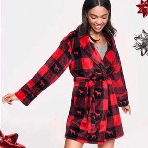 Victoria's Secret PINK red plaid cozy robe